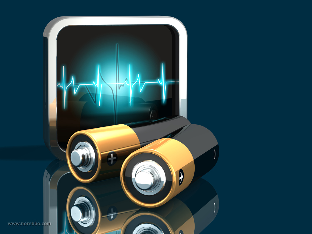 3d illustration of two large black and gold batteries lying in front of a thick framed pulse monitor graphic