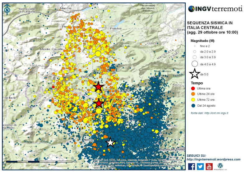Scosse sismiche dal 26 al 29 ottobre in Italia centrale. Fonte: INGV